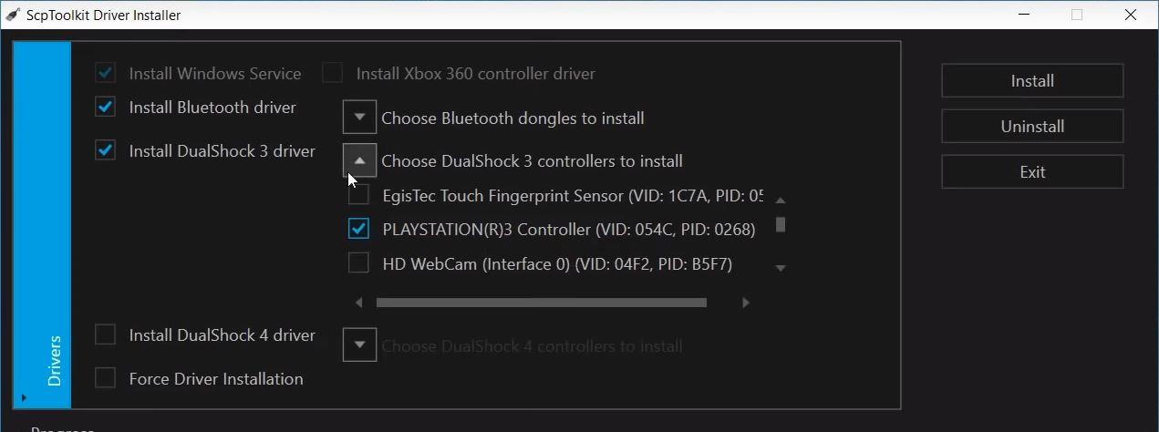 Wybierz swojego pada Dualshock 3 na liście