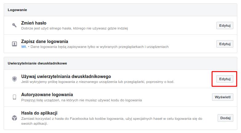 Wejdź do ustawień bezpieczeństwa na Facebooku