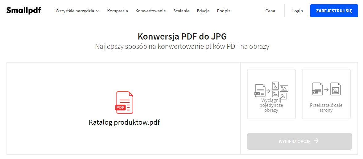 Wybierz sposób konwersji w SmallPDF