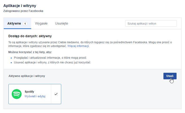 Usuń Spotify z ustawień witryn i aplikacji na Facebooku