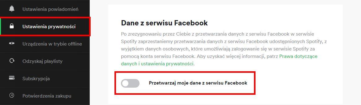 Włącz przetwarzanie danych na Facebooku