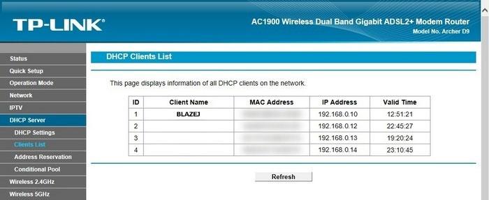 Lista klientów DHCP w ustawieniach routera TP-Link