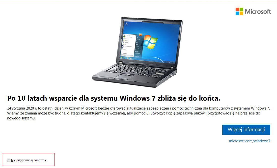 Ukryj powiadomienie o zakończeniu wsparcia w Windows 7