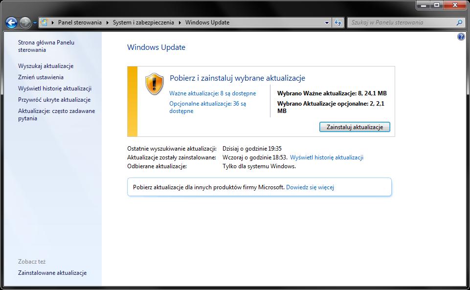 Pobierz aktualizacje do Windows 7