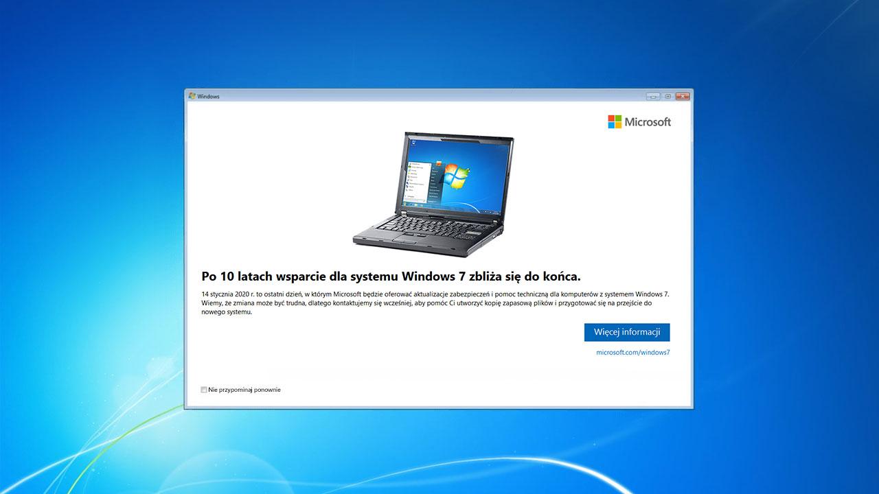 Jak ukryć okno o zakończeniu wsparcia dla Windows 7