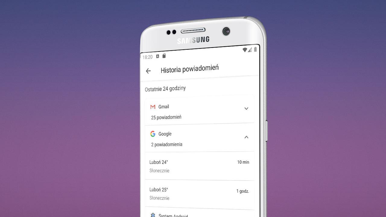 Historia powiadomień - Android 11