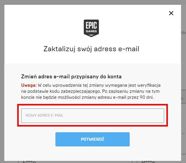 Wpisz nowy adres e-mail