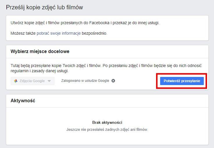 Potwierdź przesyłanie zdjęć z Facebooka do Google