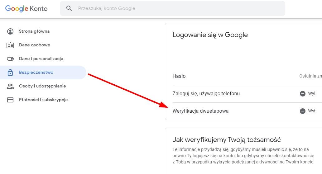 Wejdź do opcji bezpieczeństwa konta Google