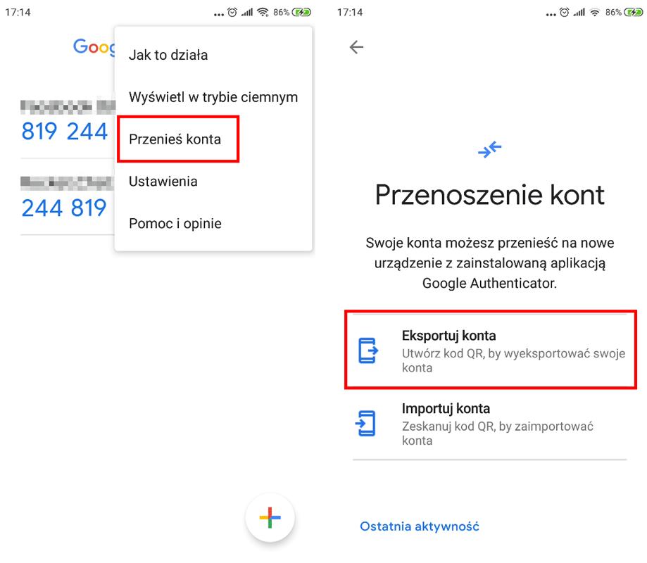 Przenieś konta w Google Authenticator