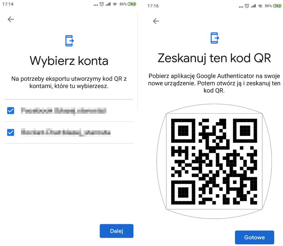 Zeskanuj kod QR w Google Authenticator
