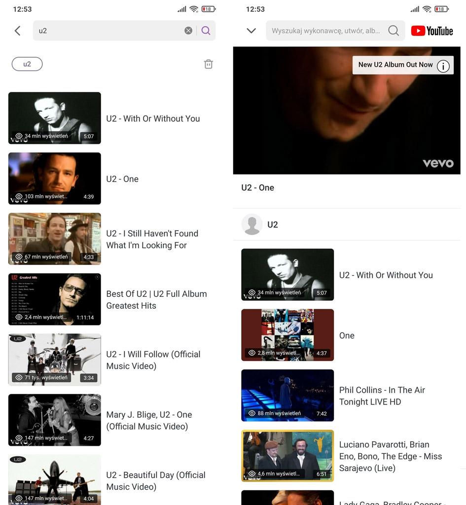 Rozpocznij odtwarzanie z YouTube w Muzyce