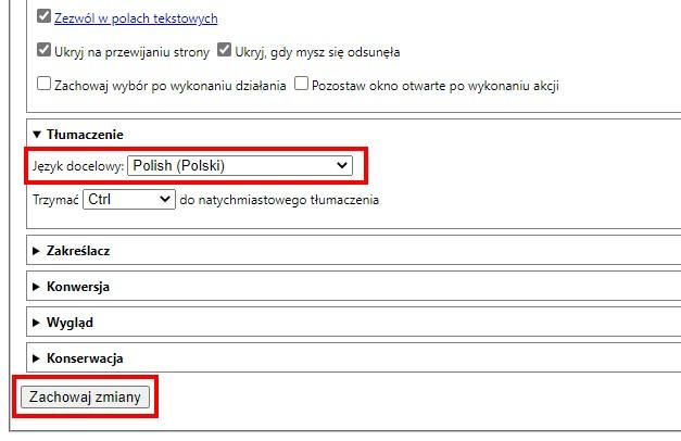 Ustaw język polski jako docelowy