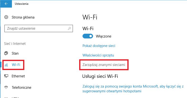 Wejdź do ustawień Wi-Fi w Windows 10