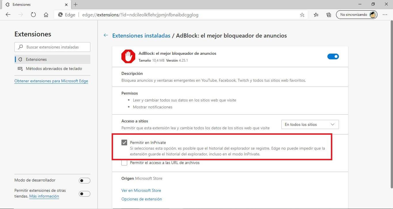 activar extensiones en el modo privado de Microsoft Edge