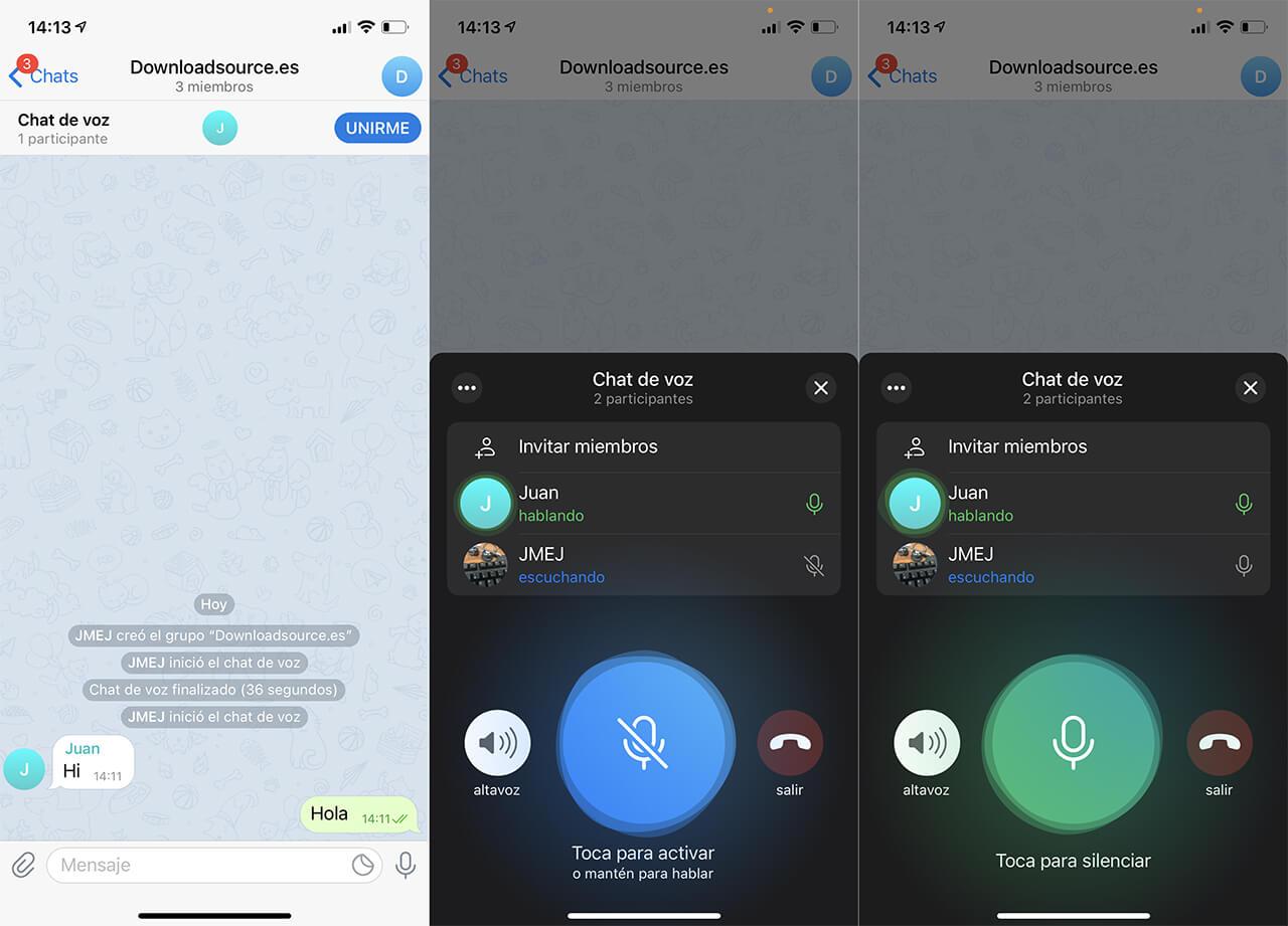 como activar y usar los chats de voz en Telegram.