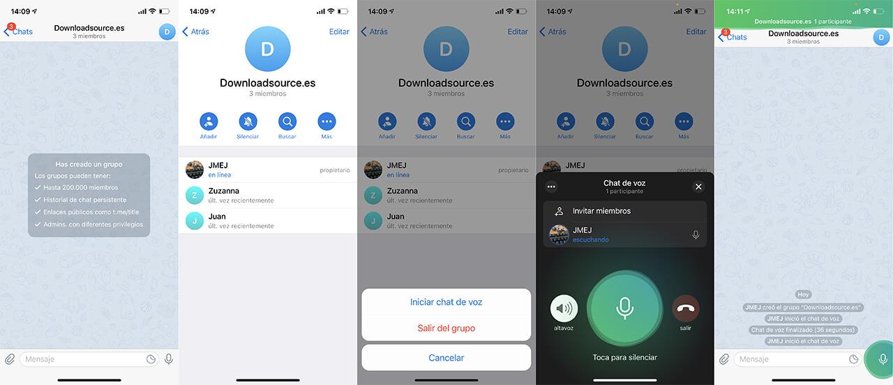 telegram permite el uso de chats de voz