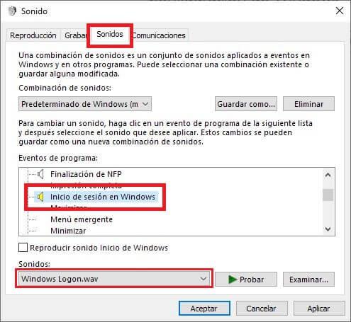 como modificar el sonido de inicio de Windows 10