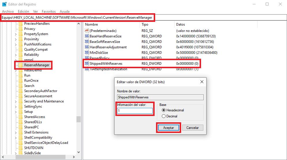 activar el almacenamiento reservado para actualizaciones de windows 10