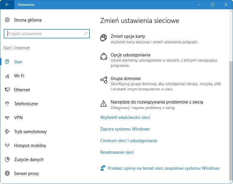 Ustawienia sieci i Internetu w Windows 10