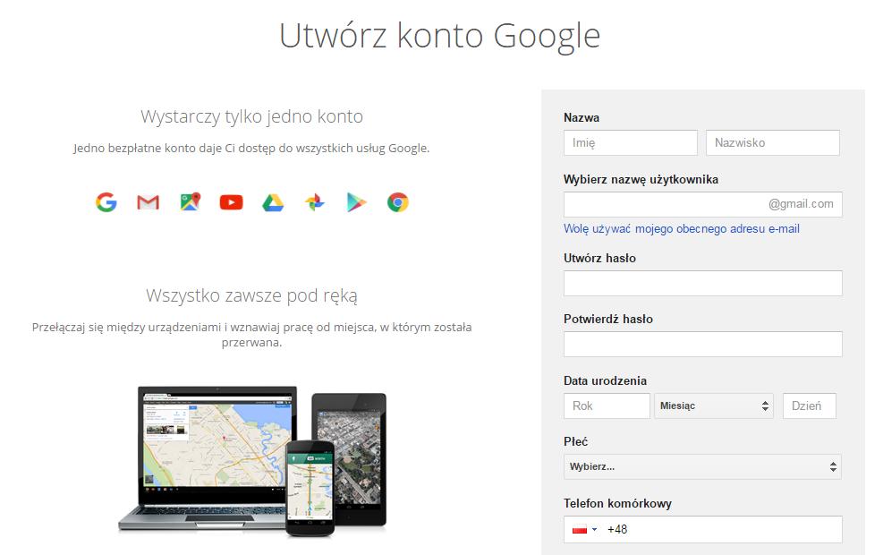 Utwórz nowe konto Google dla Androida