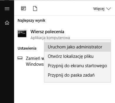 Uruchom Wiersz polecenia jako Administrator