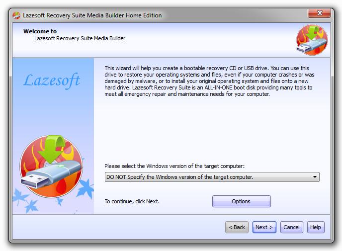 Tworzenie nośnika CD/USB z Lazesoft Recovery Suite