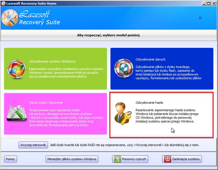 Lazesoft - menu programu