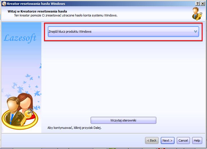 Odzyskiwanie klucza produktu Lazesoft