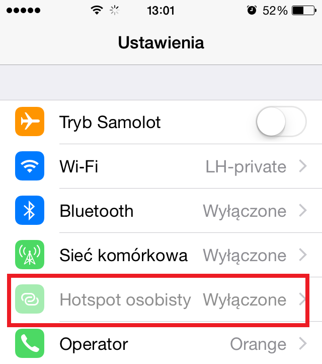hotspot osobisty iphone