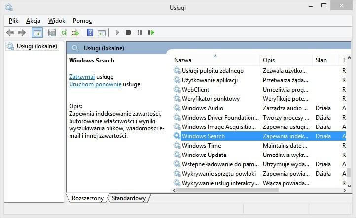 Lista usług w Windowsie 8