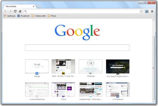 Google Chrome - nowa strona startowa