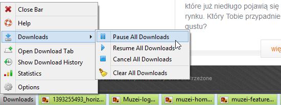 Opcja Downloads w Download Status Bar