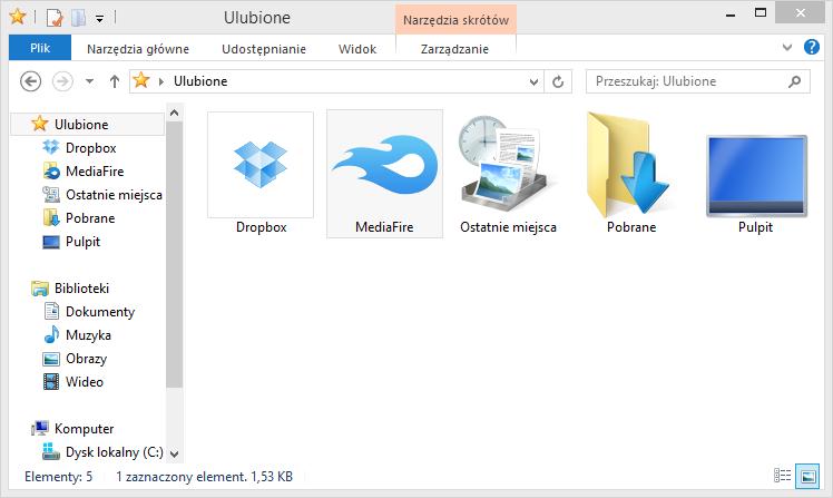 MediaFire Desktop - folder na dysku