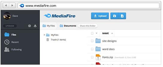 MediaFire - dostęp webowy