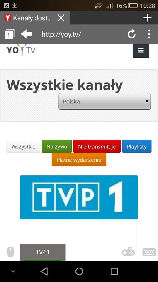 Yoy.tv w przeglądarce Puffin