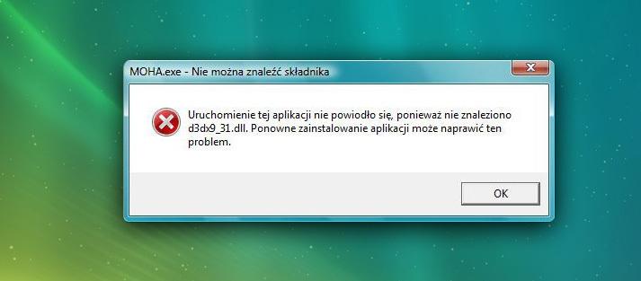 Typowy problem z uruchomieniem - brak DirectX
