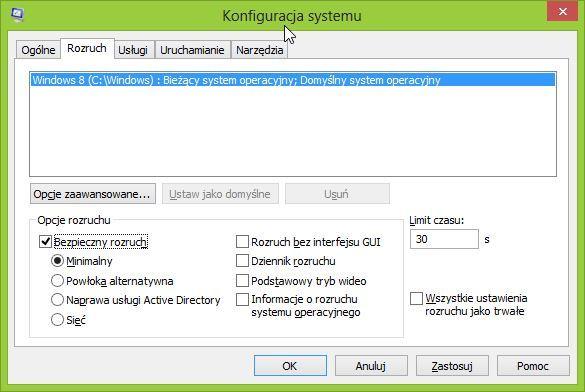 Okno konfiguracji systemu - msconfig