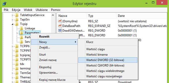 Dodawanie odpowiednich wartości do klucza Tcpip > Parameters