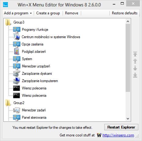 Win+X Menu Editor - główne okno programu