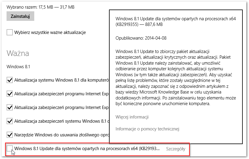 Instalacja aktualizacji Windows 8 Update 1