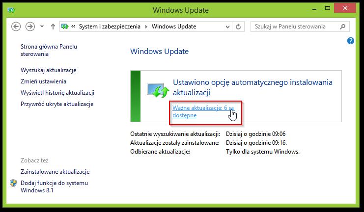 Windows Update w Panelu sterowania