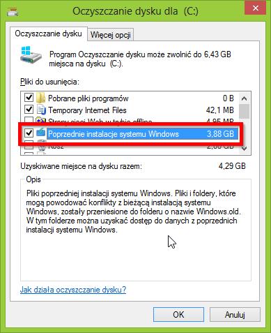 Usuwanie poprzedniej instalacji Windows