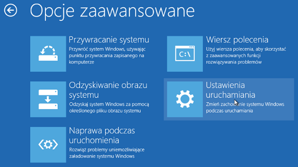 Ustawienia uruchomienia Windows 8 lub 8.1