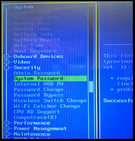 Zakładka Security w BIOSie