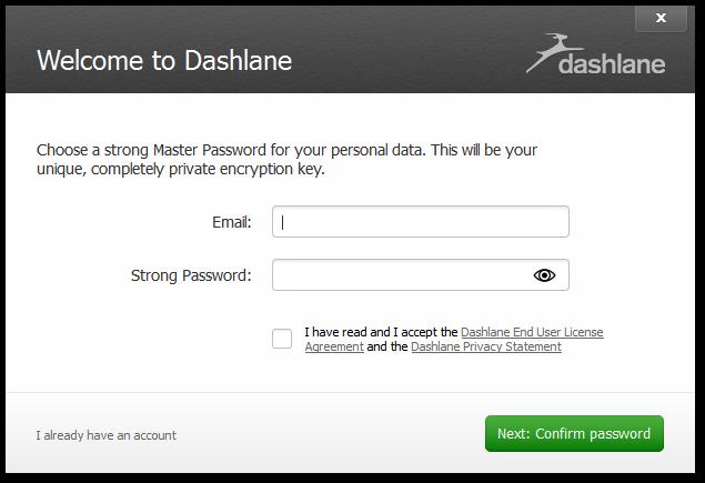 Dashlane - wybór głównego hasła