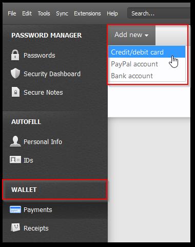 Dashlane - dodawanie danych do płatności