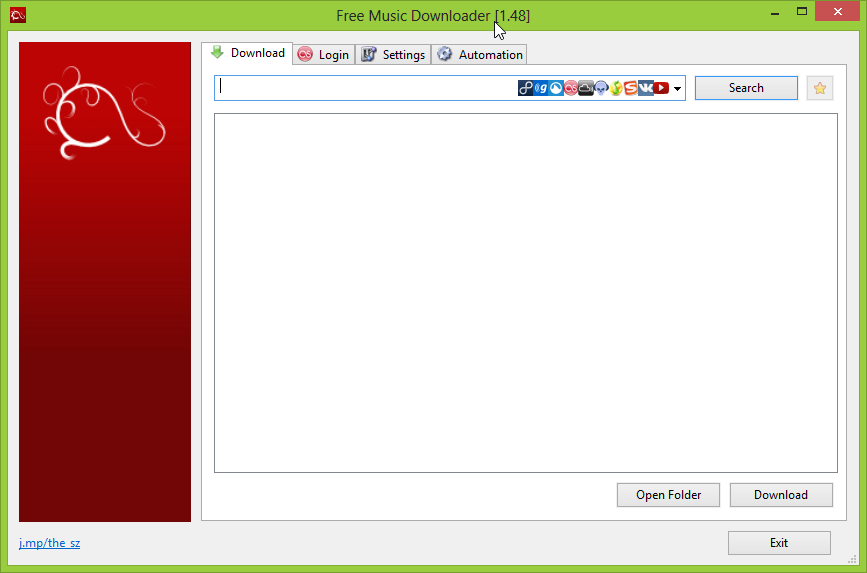 Free Music Downloader - główne okno