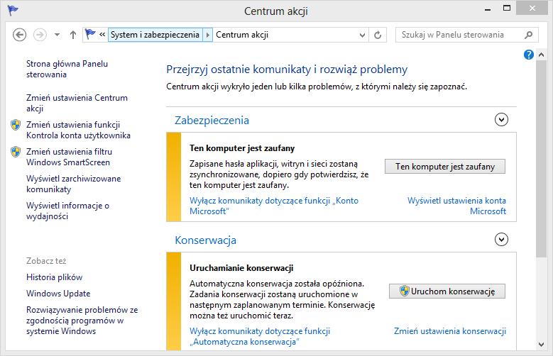 Centrum akcji w Windows 8