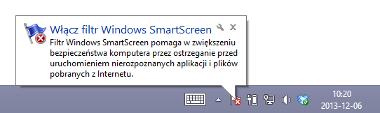 Komunikat o filtrze SmartScreen